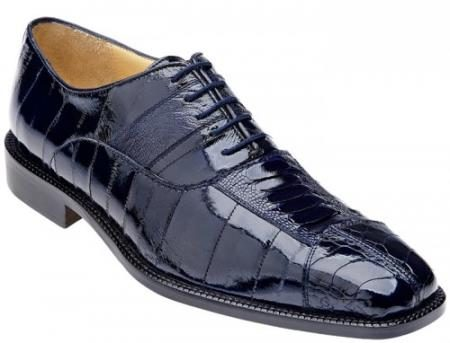 "Belvedere ""Mare"" Navy Genuine Eel And Ostrich Leg Shoes"