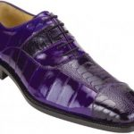 "Belvedere ""Mare"" Purple Genuine Eel and Ostrich Leg Shoes"