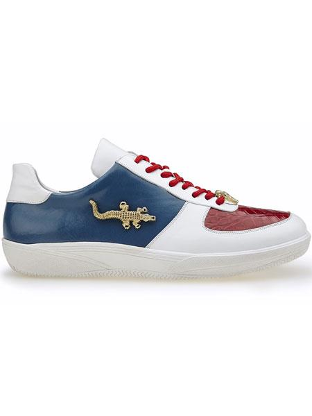 Belvedere Mario Crocodile  Soft Calfskin Sport Sneakers Red/White/Navy
