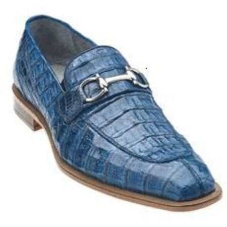Belvedere Mercuri Mens Genuine Bit Loafers / Chrome Tone Buckle with Leather Sole in Blue Jean