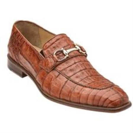 Belvedere Mercuri Mens Genuine Bit Loafers / Chrome Tone Buckle with Leather Sole in Brandy