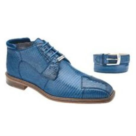 Belvedere Napoli Genuine Crocodile and Lizard Skin Boots in Blue