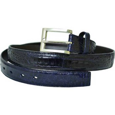Belvedere Navy allover Genuine Hornback Crocodile Belt