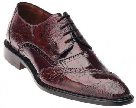 "Belvedere ""Dino"" Antique Red / Scarlet Red Genuine Eel / Ostrich Leg Shoes"