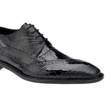 Belvedere Dino Genuine Ostrich / Eel Brogue Shoes with Leather Sole in Black