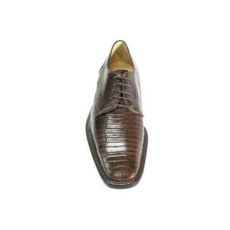 Belvedere Olivo Genuine Lizard / Mens Oxford Dress Shoes with Leather Sole in Brown