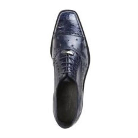 Belvedere Onesto II Genuine Ostrich / Crocodile Cap Toe Exotic Dress Shoes in Navy