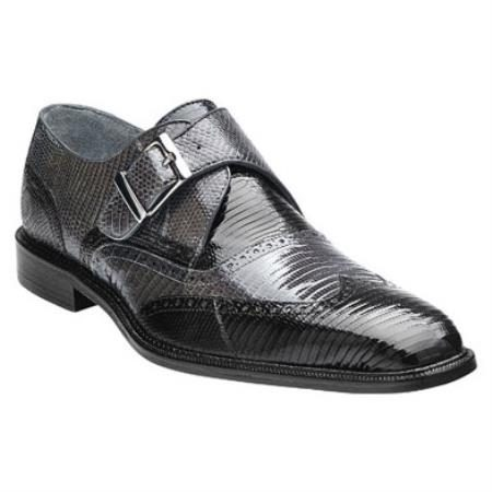 Belvedere Pasta Genuine Lizard / Wingtip Brogue with Monk Strap Design and Leather Sole in Black / Gray / Grey