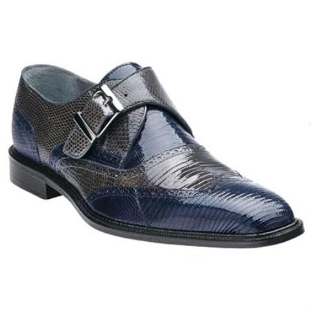 Belvedere Pasta Genuine Lizard / Wingtip Brogue with Monk Strap Design and Leather Sole in Navy / Blue