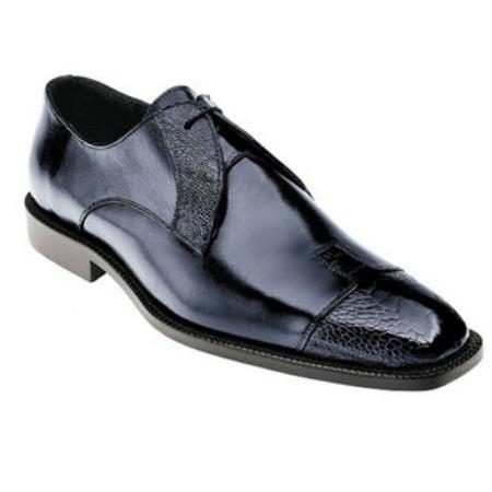 Belvedere Pisa Genuine Ostrich and Calfskin / Cap Toe Shoes in Navy