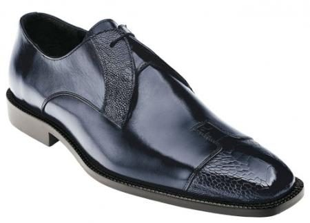 "Belvedere ""Pisa"" Navy Genuine Ostrich and Italian Calf Shoes"