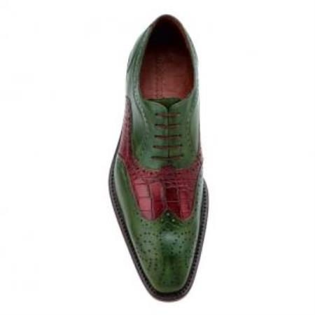 Belvedere Sesto Calfskin & Alligator Wingtip Shoes Antique Emerald / Wine