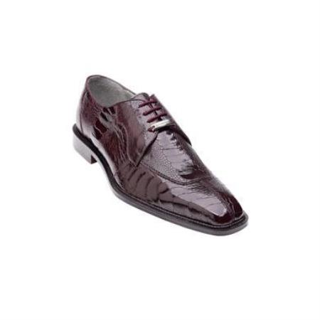 Belvedere Siena Genuine Ostrich / Split Toe Shoes with Leather Sole in Burgundy