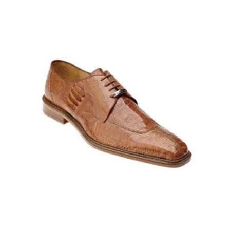 Belvedere Siena Genuine Ostrich / Split Toe Shoes with Leather Sole in Burned Amber