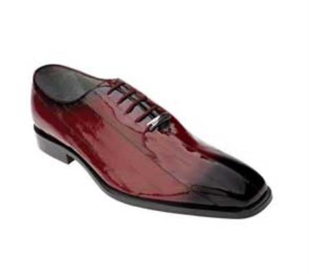Belvedere Stella Genuine Eel / Exotic Ostrich Suede Dress Shoes in Red