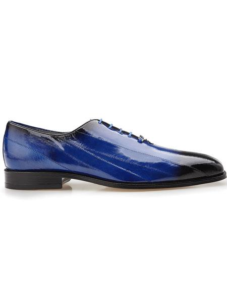 Belvedere Stella Genuine Eel Lace Up Antique Royal Blue Exotic Shoes