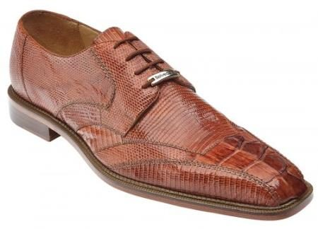 "Belvedere ""Topo"" Cognac Genuine Hornback Crocodile / Lizard Shoes"