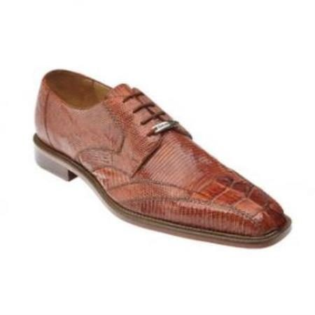 Belvedere Topo Genuine Hornback and Lizard / Exotic Dress Shoes with Leather Sole in Cognac