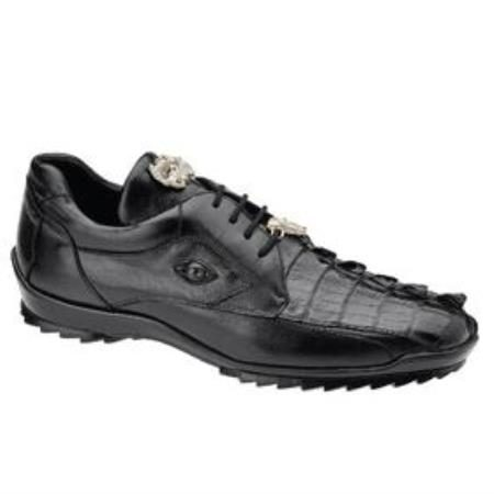 Belvedere Vasco Hornback / Genuine Calfskin Sneakers with Metal Detail in Black
