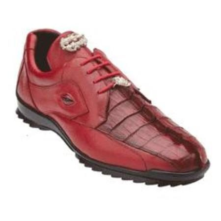 Belvedere Vasco Hornback / Genuine Calfskin Sneakers with Metal Detail in Red