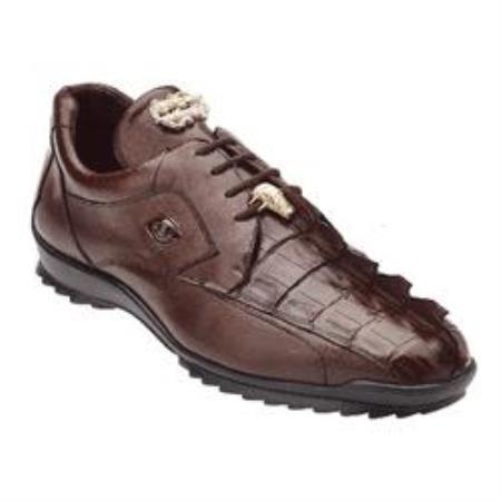 Belvedere Vasco Hornback / Genuine Calfskin Sneakers with Metal Detail in Tabac