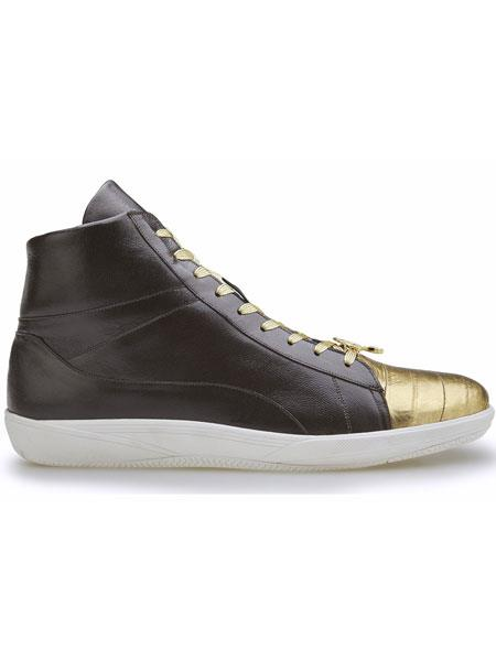 Belvedere Vitale Genuine Eel And Soft Calfskin Gold/Brown Exotic Shoes