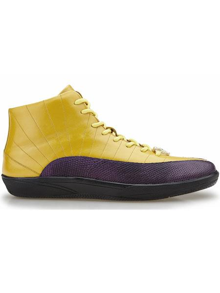 Belvedere  Yellow Oratio Genuine Lizard And Soft Calfskin Exotic Shoes