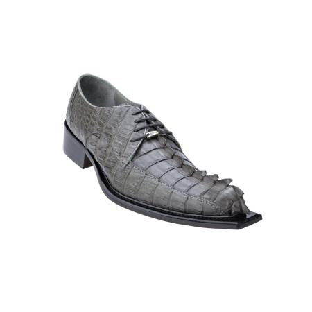 Belvedere Zeno Genuine Hornback Crocodile / Exotic Dress Shoes - Leather Sole in Grey / Gray