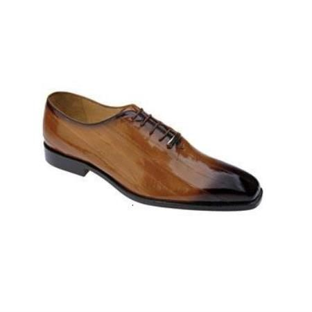 Belverdere Stella Genuine Eel / Exotic Dress Shoes with Leather Sole in Khaki