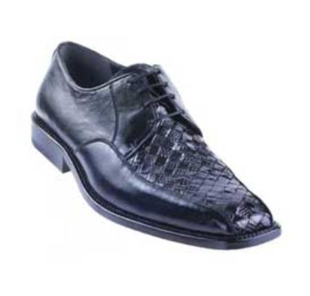 Black Basket Wave Genuine Lizard Shoes