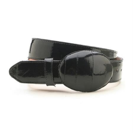 Black genuine eelskin belt