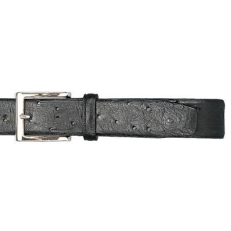 Black Genuine Ostrich Belt