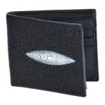 Black Genuine Stingray Single Stone Finish Card Holder Wallet