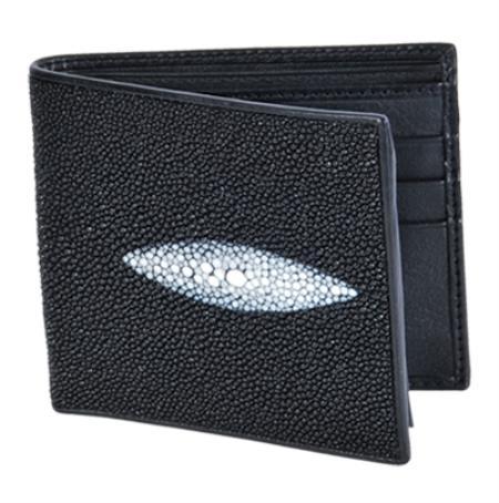 Black Genuine Stingray Single Stone Finish Card Holder Wallet