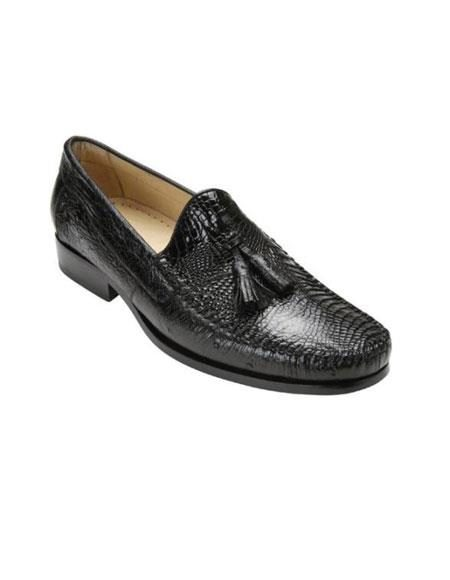 Black Authentic Genuine Skin Italian Mens Genuine Caiman