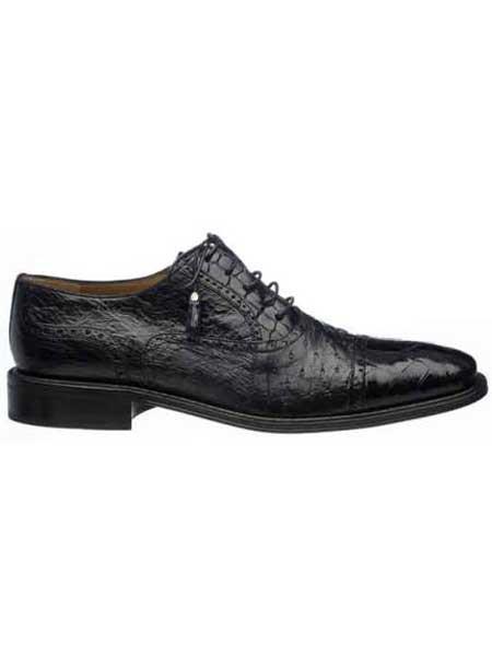 Black Mens Alligator & Ostrich Quill Cap Toe Shoes