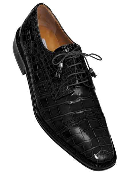 Black Mens Full Cap Gator Skin Leather Lace Up Alligator Shoes