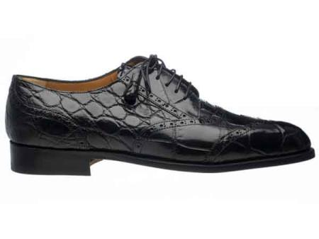 Black Mens Wing Tip Italian Lace Up Style Alligator Belly Skin Shoes