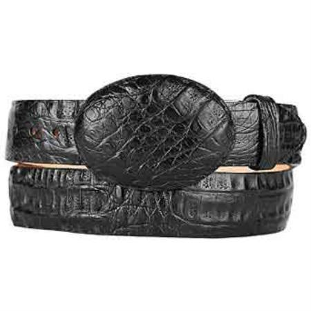 Black original caiman belly skin western style belt