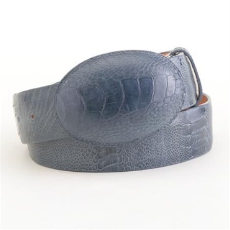 Blue jean ostrich leg belt