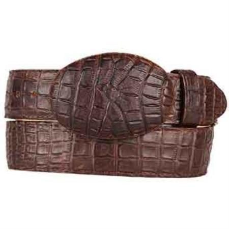 Brown caiman belly printed pattern western style belt