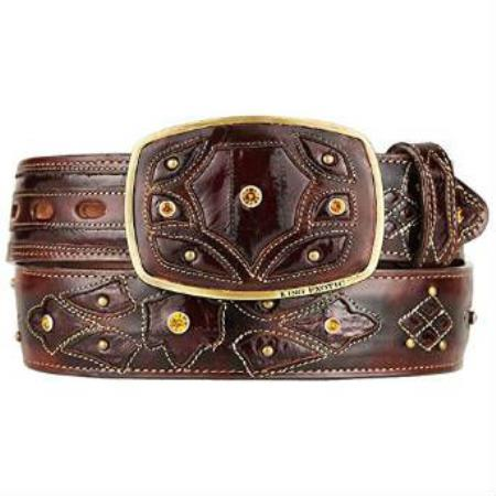Burnished brown original eel skin fashion western hand crafted belt