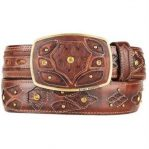 Burnished brown original ostrich full quill skin fashion western belt