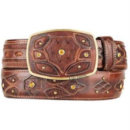 Burnished brown original ostrich full quill skin fashion western belt
