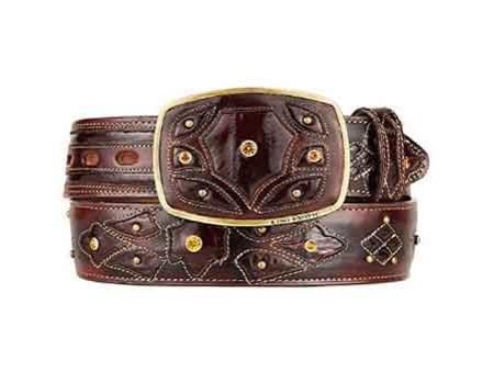 Burnished original eel skin fashion western belt brown