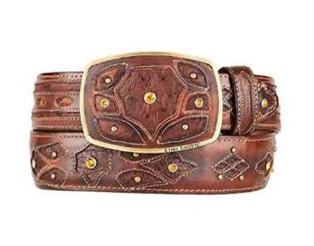 Burnished original ostrich full quill skin brown fashion western belt