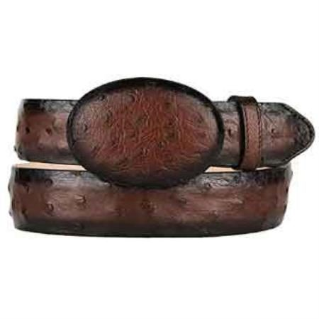 Burnished original ostrich full quill skin western style belt brown