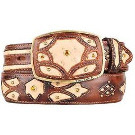 Burnished oryx ostrich full quill skin fashion western belt