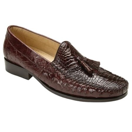 Caiman and Ostrich Loafer Shoes with Dual Stitching in Brown