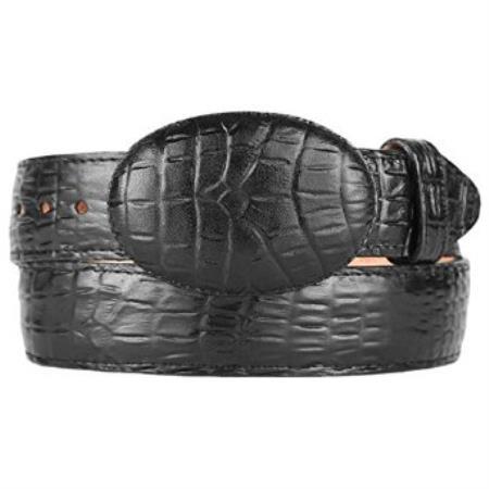 Caiman belly black western style belt